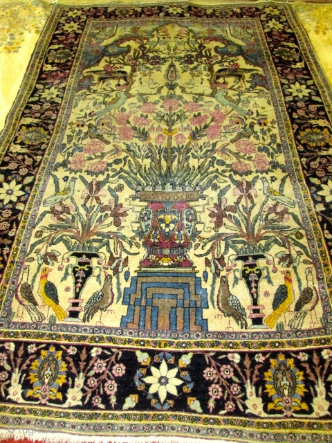 Antique Pictorial  Laver Kerman Rug.