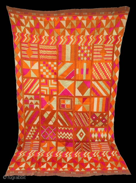 """Bawan Bagh from East (Punjab)India called As Bawan Phulkari.""""Bawan"""" means """"fifty-two"""" in Punjabi and refers to the mosaic of fifty-two different patterns which decorate this piece.Bawan bagh is the Rarest of all  ..."""