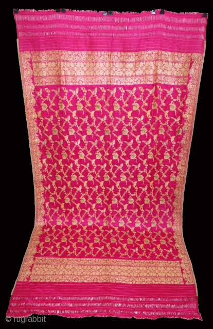 Odhni Zari Brocade (Real Silver Work) From Varanasi India.Pure Silk Fabric.Made to order for some Royal Rajput Family.Very Rare Piece.(DSE01690).