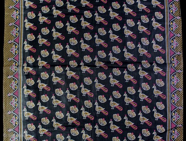 Vintage Roller Print Yardage on Cotton From Kutch Gujarat India.Manchester England made for Indian Market.Its size is 75cm X 377cm.Perfect Condition.(DSE01870)