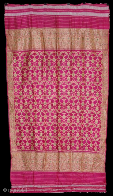 Odhni Zari Brocade (Real Silver Work) From Varanasi India.Pure Silk Fabric.Made to order for some Royal Rajput Family.(DSL01880).