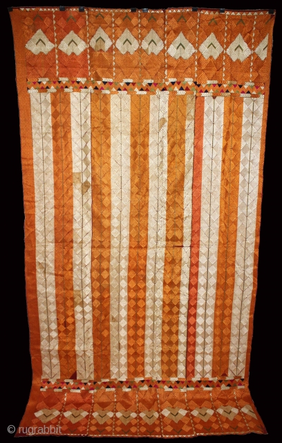 Phulkari from West(Pakistan)Punjab India Called As Rare Design Bagh. Extremely Fine Phulkari.(DSL01940).