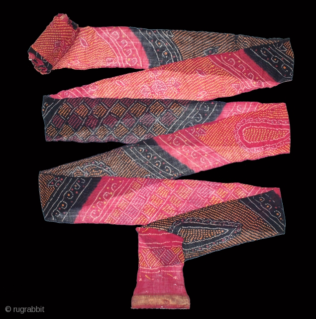 Turban(Pagh) Tie and Dye,Worn During the Monsoon Fine Cotton Mull-Mull.C.1900.Royals Family Rajasthan India.Length 15 to 18 miter.(DSL03810).