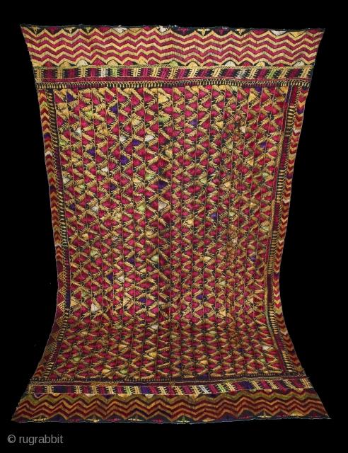 Indigo Folk Vintage Phulkari from East(Punjab)India.Rare Design.Extremely Fine Phulkari.(DSE01420).