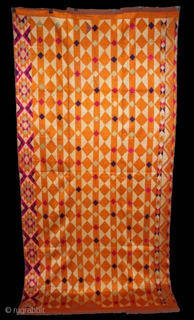 Phulkari From West(Pakistan)Punjab India Called As Diamond Bagh.Very Rare Panchrangi Border Design.Extremely Fine Phulkari.(DSL03280).