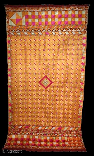 Phulkari From East(Punjab)India Called As Chaurasia Bagh.Rare Design.Floss Silk on Hand Spun Cotton khaddar Cloth.Mind Condition.Its size is 125cm X 240cm.(DSL03340).
