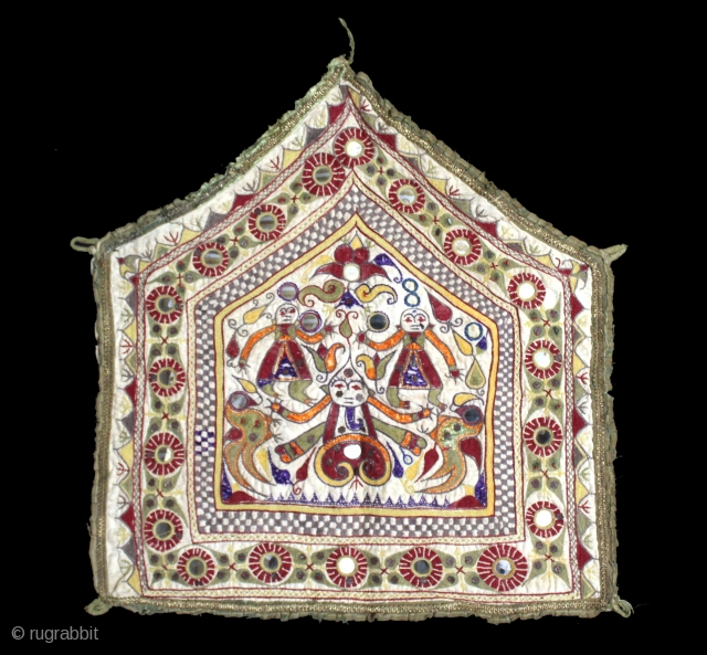 Ganesh-Sthapana Wall Hanging From Saurashtra Gujarat India.C.1900.The Folk Art of Gujarat.Its size is 45cm X 49cm.(DSL03400).