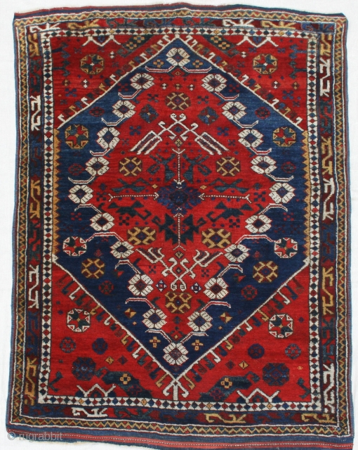 Stunning late 19th century Bergama. Colours good.72in by 52in Full pile, some small areas of invisible reweaves to field, restoration to ends and selvedges.