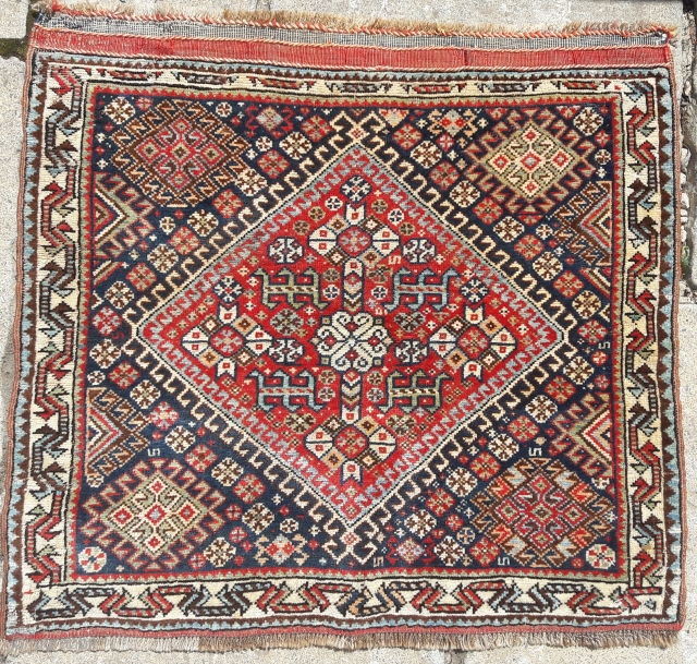 Antique Quashgai bagface. Softer colour palette, all colours good. Some very small spots of old repair. 27in by 24in