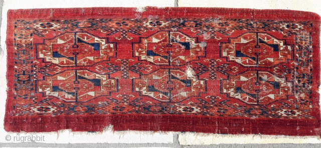 Distressed but beautiful Tekke 6-gul torba, 42in by 17in.