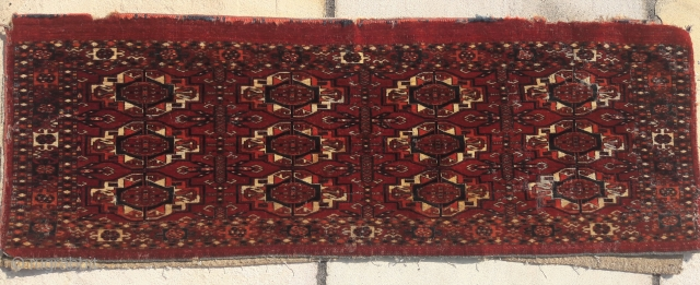 Mid 19th century Tekke torba. An attractive weaving, sadly it had a moth problem in the past, hence now very reasonably priced. 49in by 17in