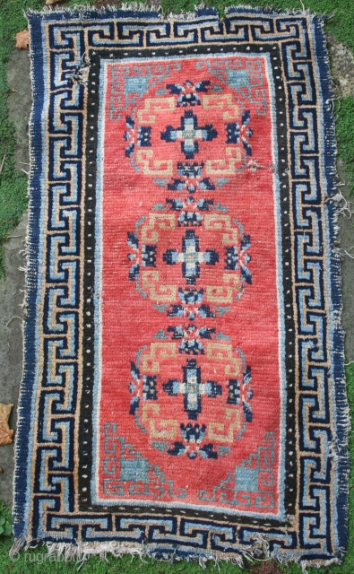 "Mid 19th century Tibetan rug, 48"" by 27"", all vegetal colours, in clean original condition"
