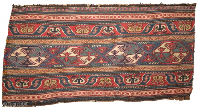 Shahsevan sumac mafrash side panel, great color with both madder and insect reds, highlights with metal thread.