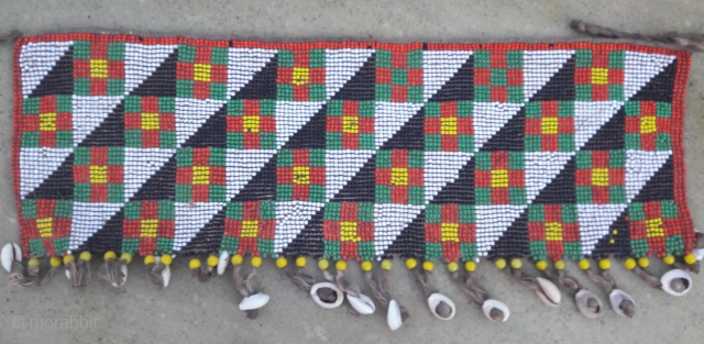 Beadwork cache-sexe, strong graphic. 18in by 6in