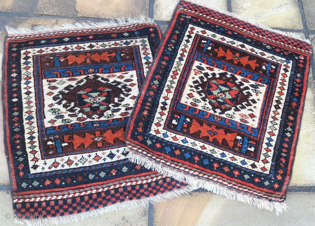 Pair of early 20th century kurdish bagfaces, good colours, full pile Each 23in by 25in