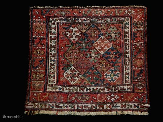 1880 Shasafan Soumakh Fragment Size: 40x45cm (1.3x1.5ft) Natural colors