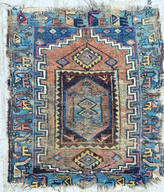 antique Persian KelarDasht prayer rug bird border made with kurdish people ,size 95x85cm