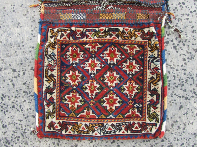 Antique qashqai saddlebag in perfect condition,with gezel geychi pattern as qashqai's call it,Size:110x52 cm,
