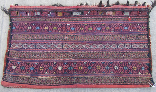 SE persian Afshar tribes Rakat .Size:145x80 cm.frings are mixed cotton and wool.two small hole in back kilim is shown from inside in images