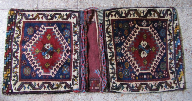 fine Superb compelete dated(1330) khamseh saddlebag in perfect condition,107 years old,Size:130 x 60 cm