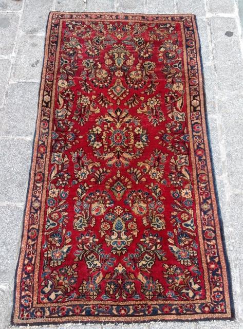 Very Fine Small Sarouk Rug size 76x152 cm full pile