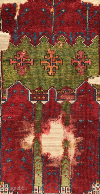 Central Anatolia Cappadocian Prayer Rug Fragment circa 1750 size 110x135 cm