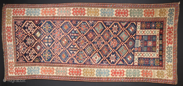 ca.1880 Akstafa Prayer rug,,wonderful Natural colours,,size:204x90 cm  6.9x3 ft
