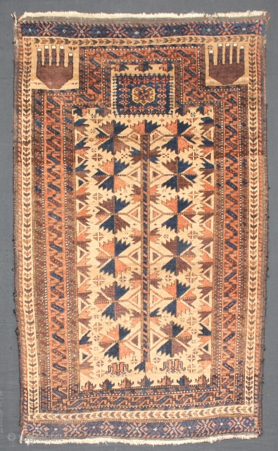 ca.1900 Wonderful Baluch Prayer rug,wonderful natural colours,redhave tip fading,size:116x70 cm  3.10x2.4 ft