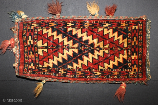 ca.1900 amazing Yomut spindel bag ,,wonderful natural colours,,size:47x25 cm  1.7x0.10 ft