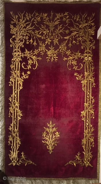 Ottoman Velvet Embroider Palace Prayer Rug 19th Century