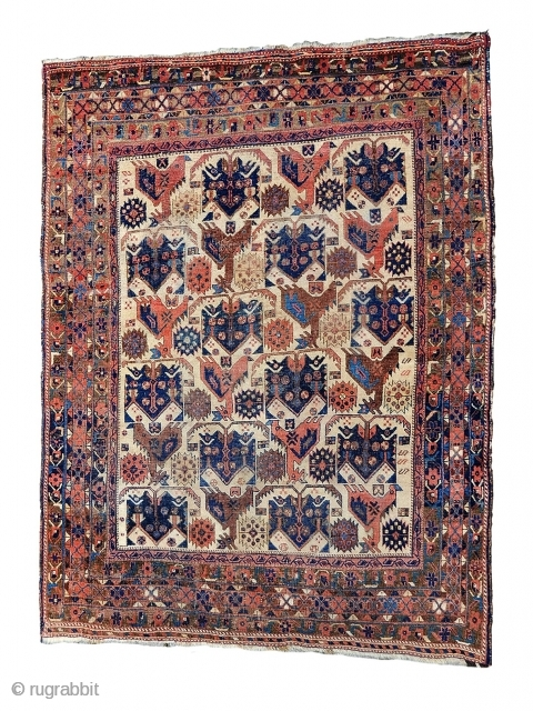 Afshar rug good connection without repair all natural colors,size 185x160cm> i Birds in the shamanic societies which most weaving cultures come from ( and often still had surviving traditions when these rugs  ...