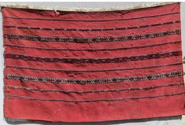 Tekke Kizil chuval 9 stripe pattern with (cross & star) design; mixed technique circa1880.size 120x75cm