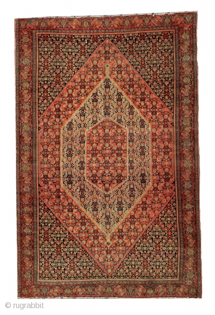 senneh rug 1850 circa wool on silk 7 colors size 200x236cm,
