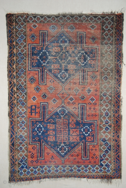 Antique Baluch rug, 19th c., 104 x 150 cm, wear, thin, small losses at top and bottom and one edge