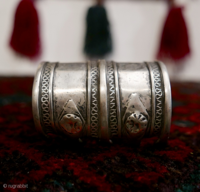 "18th-19th c. Tibetan Silver Bracelet with a classic simplicity and a wonderful patina;  3.9 oz;  2 3/4""L ;  circumference is 7 1/2"" outside,  7"" inside.