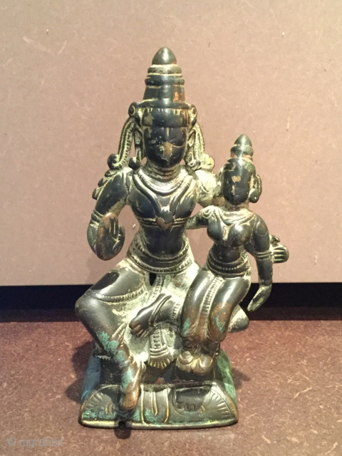 18th/19th Century Shiva & Parvati Bronze from South India. 10cm tall. Lovely detail in earrings & headpiece! Please note there is some minor corrosion,