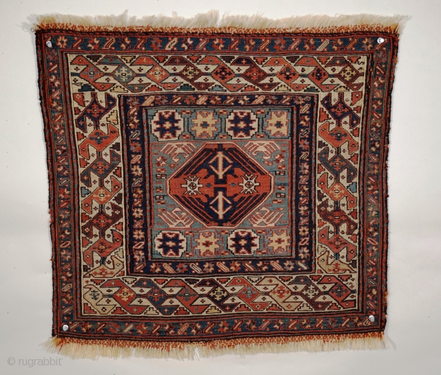 "Bijar-Shahsavan bag face, NW Persia, Size 23"" x 22"", Circa 1850, this khorjin was woven in the region between Mianeh and Bijar, although it is frequently labeled Khamseh-Shahsavan, familiar members of the  ..."