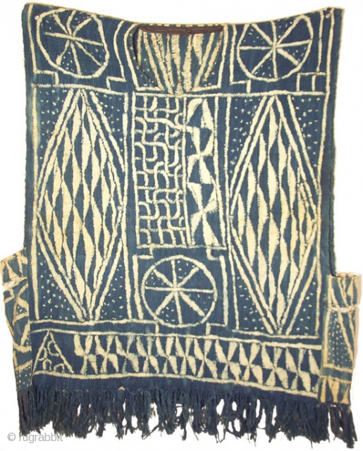 """Bamileke Ndop Shirt, Cameroon grasslands region, 25"""" x 35"""" (+/-), this is a ndop sleeveless shirt made in the resist-stitched indigo-dyed cloth of the Bamileke grasslands of Cameroon, the design is traditional  ..."""