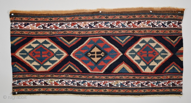 "Shahsavan (Moghan-Savalan), bedding bag side panel, circa 1850, size 40.5"" x 19.5"" (102.8 cm x 49.5 cm), woven primarily in slit-tapestry technique, there is extra weft wrapping in the border and guard  ..."