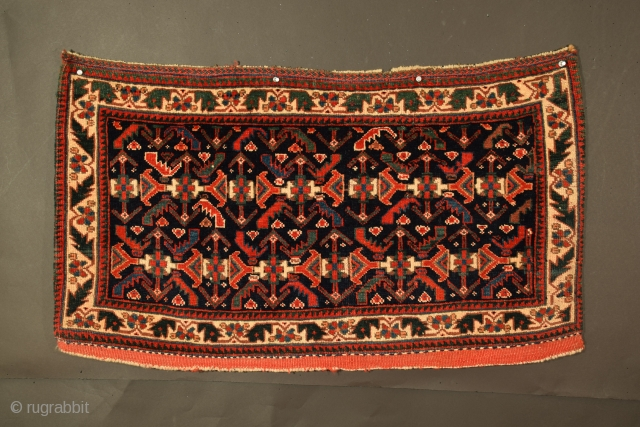 "Afshar bag face, 37"" x 21"" (+/-), the excellence of this weaving is achieved from three elements; first, the field composition is comparatively rare, extremely complex and difficult to execute correctly, secondly,  ..."