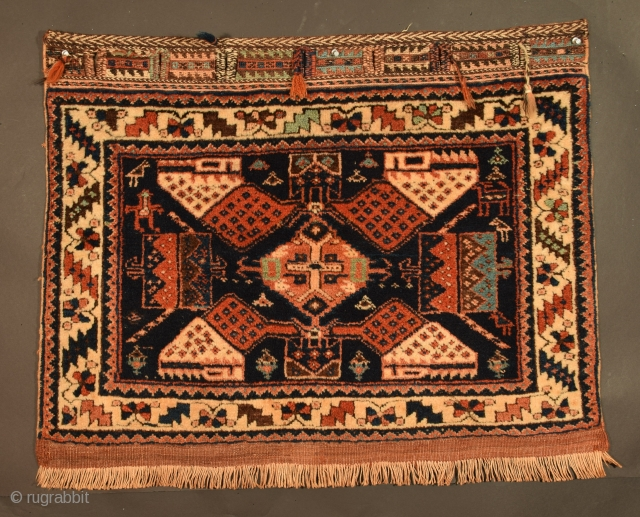 Afshar bag face, a South Persian masterpiece, excellent condition, strong, clear, occasionally, seductive color.