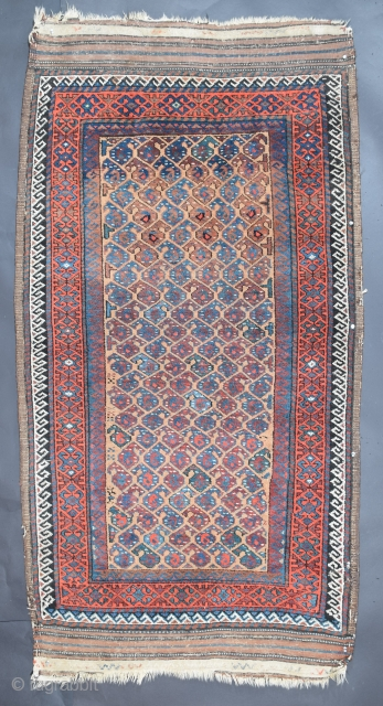 """Baluch Rug, Northeast Khorasan possibly Torbat-e-Haidar region, circa 1800, 35"""" x 70"""" with flatweave ends adding another 5""""-6"""", the condition is very good, full pile, no wear, no stains, with minor wear  ..."""
