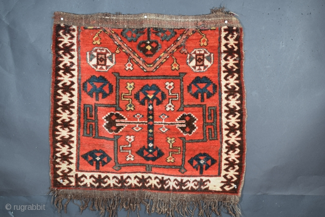 "Kyrgyz bashtyk, Kyrgyzstan, tentatively attributed to the Osh region, 29"" x 29"", 73.6 x 73.6 cm (+/-), circa 1925, very good condition with isolated wear to portions of the flatweave ends, excellent  ..."