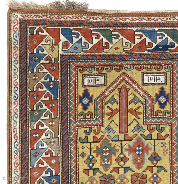 Gendje Prayer Rug, South Caucasus, 3.7 x 5.9 ft (110x176 cm)