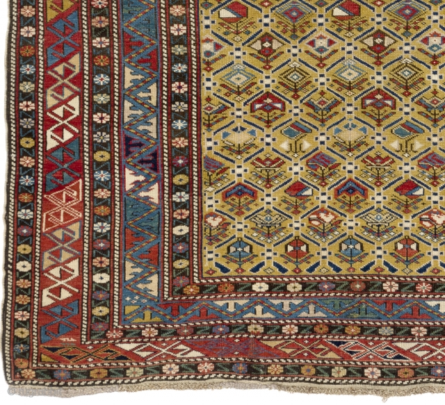 Antique Yellow ground Shirvan Rug, Caucasus, ca 1880. Perfect Condition, All Original. No repairs, No issues. 