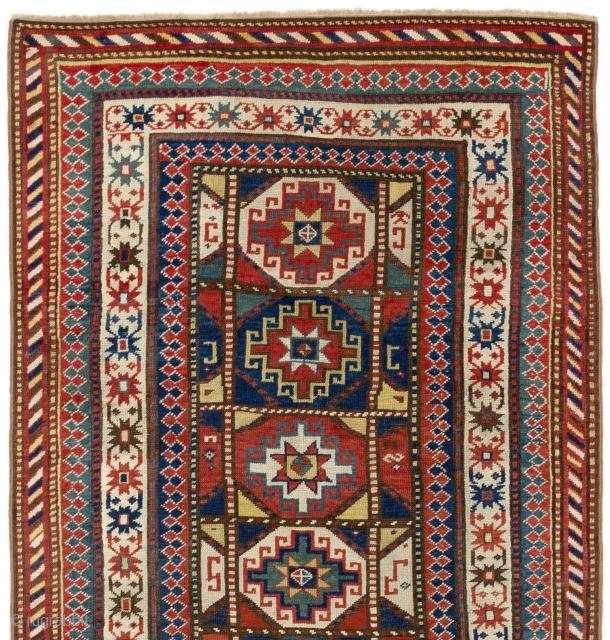 Caucasian Moghan Rug, ca 1880. 4 x 8 Ft  (122x245 cm).