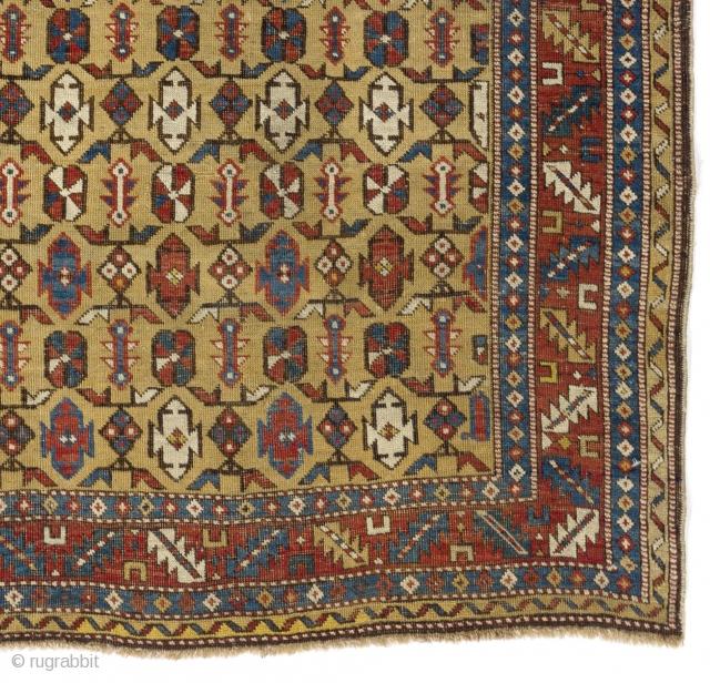 Antique Caucasian Shirvan Rug, 124x146 cm (4.1 x 4.8 ft)