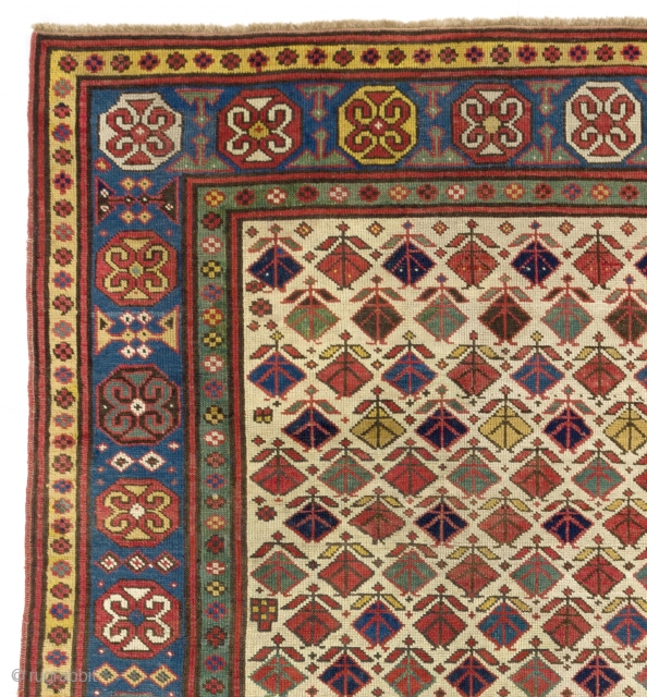Colorful Antique Gendje Rug on Ivory ground, Southern Caucasus, ca 1880, 4.1 x 7.6 Ft  (125x230 cm)