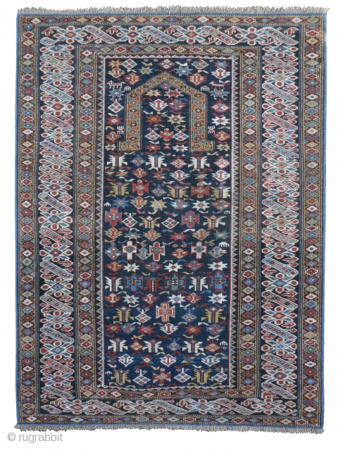 "Caucasian Chi Chi Prayer Rug, 1.17 x 1.54 m (3'10"" x 5'1""), Good condition and splendid colours. ca 1870. www.rugspecialist.com"