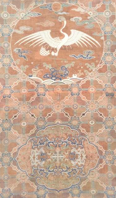 Rare 18th century Chinese throne cover fragments(2),silk lampas weave,cm.81x52, 39x52.